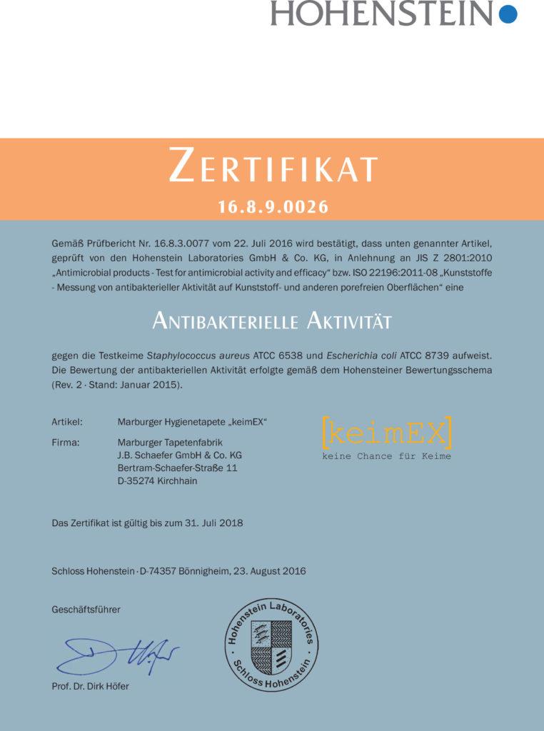 Hohenstein Zertifikat